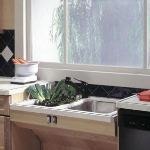 kitchen sink lowered for wheelchair access